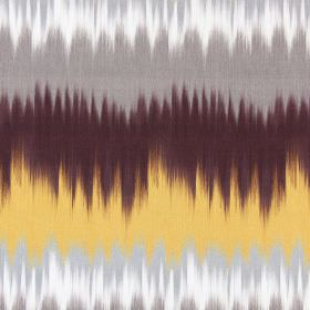 Malibu - Saffron - Colours blending from dark grey through to gold through to dark brown-purple on this fabric made from cotton