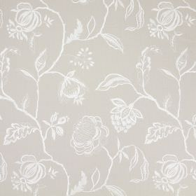 Lahini - Stone - Patterned grey and white cotton fabric, with a design of line drawings of flowers, branches and leaves