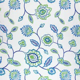 Lovina - Indigo - Simple, stylised designs embroidered in bright shades of blue and lime green on a white cotton fabric background