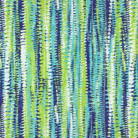 Fiji - Indigo - Rough, abstract stripes in turquoise, lime green, white and Royal blue printed on cotton fabric