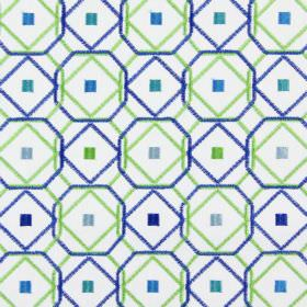 Karuba - Indigo - Lime green and cobalt blue geometric shapes embroidered with grey, green, blue and turquoise squares on white fabric