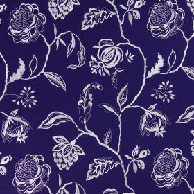 Lahini - Indigo - Bright white flowers, branches and leaves against a navy blue coloured cotton fabric background