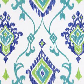 Tuvalu - Indigo - Lime green, denim blue and turquoise swirls and geometric shapes embroidered as a pattern on white fabric