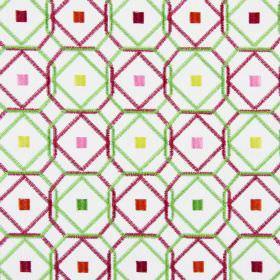 Karuba - Tropical - Small squares in a variety of bright colours with light green and pink geometric shapes embroidered on fabric in white