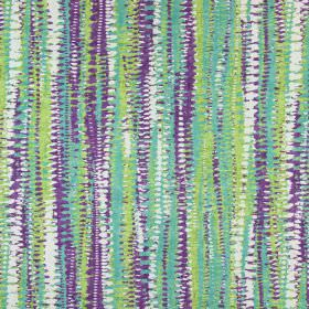 Fiji - Topaz - Scalloped, dotted lines which are rough, uneven and overlapping, printed in purple, white and greens on cotton fabric