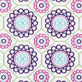 Mambo - Topaz - Circles in bright purple, pink and ice blue embroiderd with light green geometric shapes as a pattern on fabric in white