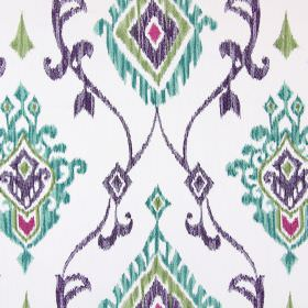 Tuvalu - Topaz - Fabric in white, embroidered with swirls and geometric shapes in purple, pink, green and turquoise