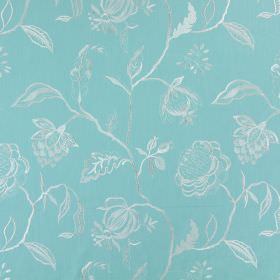 Lahini - Turquoise - Light turquoise coloured cotton fabric embroidered with simple white flowers, leaves and branches