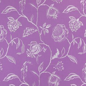 Lahini - Lavender - Cotton fabric in light purple with a white pattern of flowers, branches and leaves