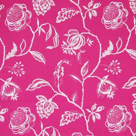Lahini - Fuchsia - Bright pink cotton fabric patterned with white line drawings of flowers, vines and leaves
