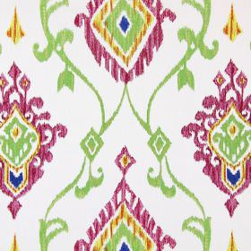 Tuvalu - Tropical - Pink, green, orange and blue making up the summery embroidered pattern for this otherwise plain white fabric