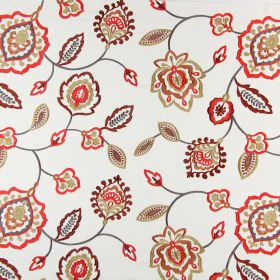 Lovina - Tabasco - Shades of red, grey, orange, gold and brown making up an embroidered stylised floral pattern on this white cotton fabric