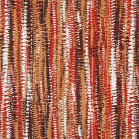 Fiji - Tabasco - Earthy brown, terracotta and white colours making up the rough, dotted, abstract striped pattern for this cotton fabric