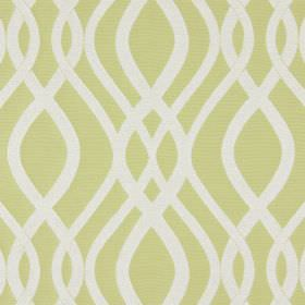 Amina - Avocado - Overlapping, wavy white lines embroidered on a light green-yellow coloured cotton fabric background