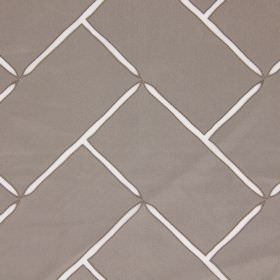 Aslan - Dove - A brick pattern created by pointed white lines on a metallic silver hard wearing fabric background