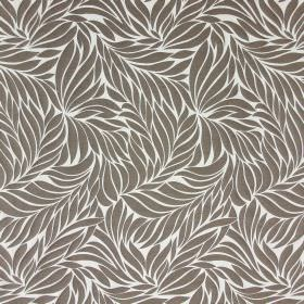 Ameera - Dove - A pattern of solid brown leaves against a white hard wearing fabric background