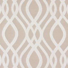 Amina - Camel - Light brown coloured cotton fabric with a pattern of overlapping wavy white lines