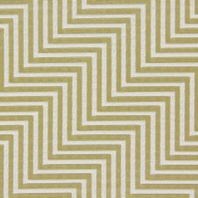 Zahara - Avocado - A series of white zigzagging lines embroidered on a background of cotton fabric in a light green-yellow colour