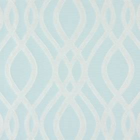Amina - Sky - Subtle white lines which overlap and are wavy, against a cotton fabric background in very pale blue
