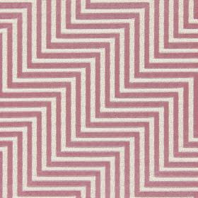 Zahara - Dusk - Pink-purple coloured cotton fabric embroidered with parallel zigzag lines in light brown