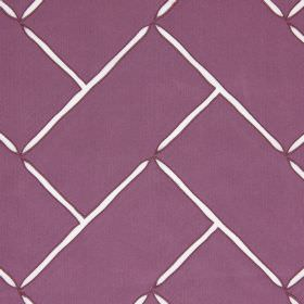 Aslan - Dusk - Hard wearing fabric the colour of aubergine which has a slight sheen, with pointed white lines creating a brick pattern