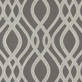 Amina - Pewter - Cotton fabric in dark grey, embroidered with a pattern of wavy lines which overlap in a dark pewter colour