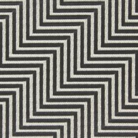 Zahara - Pewter - Light beige zigzags embroidered on a background of dark grey coloured cotton fabric