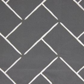 Aslan - Pewter - Shiny hard wearing fabric in dark grey, with pointed white lines creating a pattern which resembles stacked bricks