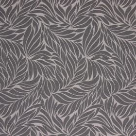 Ameera - Pewter - Grey and beige coloured hard wearing fabric with a pattern of simple, solidly coloured leaves