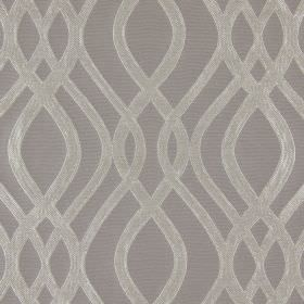 Amina - Dove - Slightly textured pewter coloured lines which are wavy and overlapping against a cotton fabric background in light brown