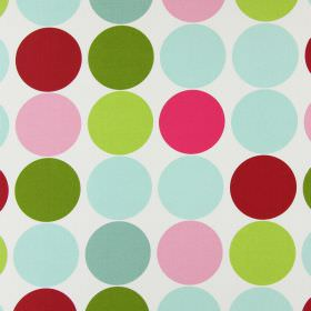 Spot On - Fuchsia - Multicoloured pink, green and duck egg blue coloured circles printed in rows on white cotton fabric