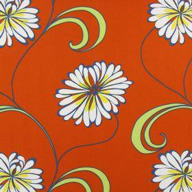 Rio - Neopolitan - A simple floral pattern in white and yellow with light green leaves on a cotton fabric background in orange