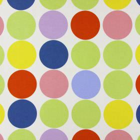 Spot On - Neopolitan - Bright, multicoloured circles arranged in neat rows over a light cream coloured cotton fabric abckground
