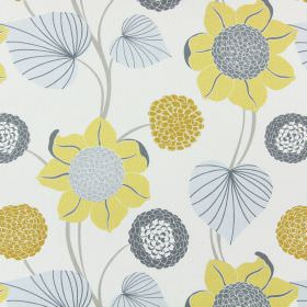 Delilah - Mimosa - Different shades of gold and grey making up the large, simple floral pattern for this cotton fabric in light beige