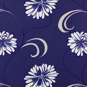 Rio - Indigo - Flowers in off-white and blue, edged with indigo, printed on a dark blue cotton fabric background