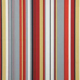 Henley - Flame - Grey, red, gold, black and white making up the random vertical striped pattern for this fabric made from cotton