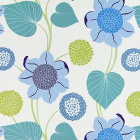 Delilah - Cobalt - Large, simple flowers in shades of blue and green printed on a cream coloured background made from cotton fabric