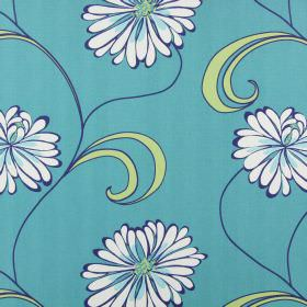 Rio - Petrol - Dark turquoise cotton fabric with a simple, large floral pattern in light pink-grey & light blue with light green leaves