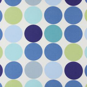 Spot On - Petrol - Circle print cotton fabric featuring colours such as blues, greens, grey and cream