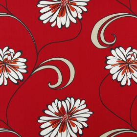 Rio - Paprika - Flowers outlined in dark grey, with cream and dark red petals, on cotton fabric in a deep scarlet colour