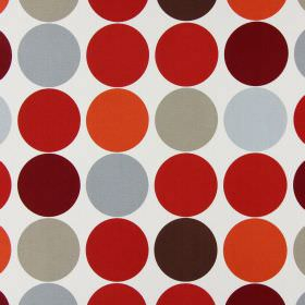 Spot On - Paprika - Cotton fabric in off-white, printed with rows of neat circles in different shades of dark red and grey