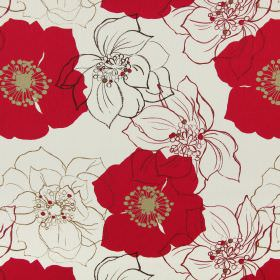 Rossitta - Ruby - Cotton fabric in off-white, with solid red flowers with light brown highlights, and outlines of flowers in brown and red