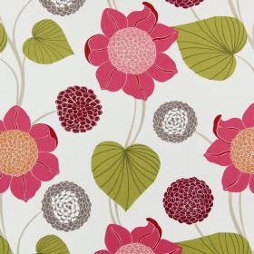 Delilah - Peony - Flowers in different shades of pink and purple printed with green-brown leaves on awhite cotton fabric background