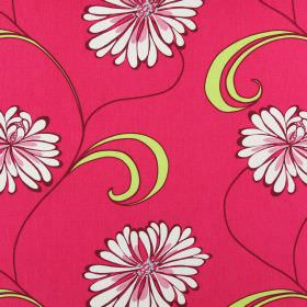 Rio - Fuchsia - Cherry coloured cotton fabric printed with large light pink and stone coloured flowers with many petals