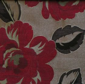 Danieli - Burgundy - Classic floral design in burdundy red on pale grey fabric