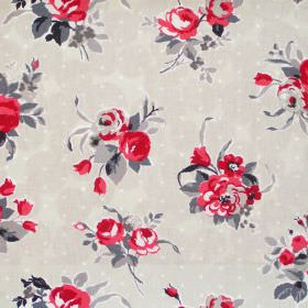 Rose - Ruby - Rose red flowers and dots on white fabric