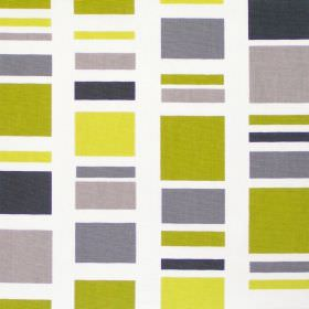 Cubic - Lime - Lime green rectangle-stripes on white fabric