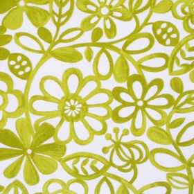 Collette - Lime - Simple lime green floral pattern on white fabric