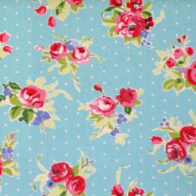 Rose - Azure - Red flowers and dots on azure blue fabric
