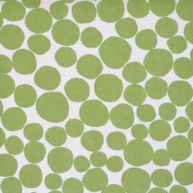 Fizz - Apple - White fabric with a green circle pattern